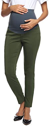 Women s Casual high Waist Pregnant Pants Maternity Office Long Trousers XXL Army Green product image