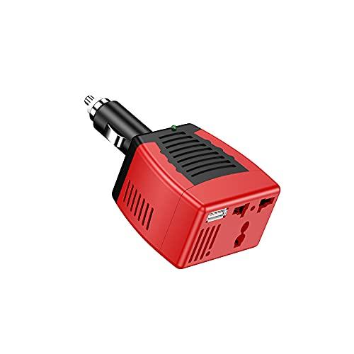 Inversor con puertos duales Dc 12v a CA 110v-220v inversor de corriente convertidor de voltaje Cargador de coche Adaptador de encendedor Indicador de potencia ABS ignífugo Shell Control de temperatura