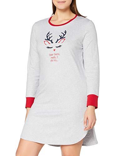 Schiesser Damen Family Sleepshirt 1/1 Arm, 95cm Nachthemd, grau-Mel, 38