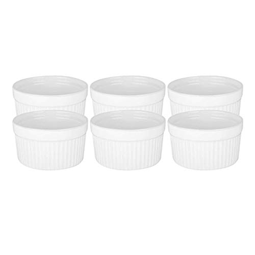 TOPSALE 6Pack 3 Inch Ceramic Ramekins Porcelain Souffle Cup for Creme Brulee Dishes, for Souffle Cups, for Baking Ramekin