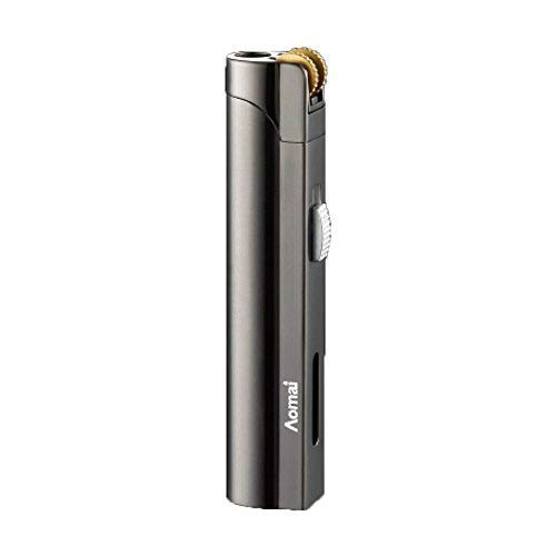 AOMAI Windproof Jet Torch Butane Flame Butane Viewable Cigar Cigarette Lighter with Lock Gray No Gas