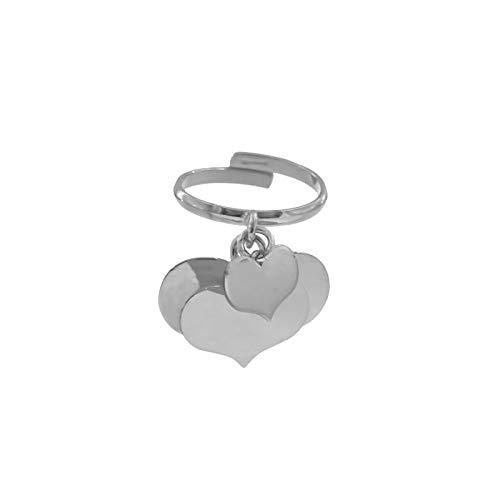 Anello personalizzabile con tre cuori pendenti in argento 925 placcato oro bianco incisione gratuita inclusa