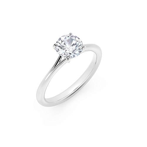 Scermino Gioielli Anello Solitario in Oro Bianco con Diamante Naturale F VS2 1 CARATO Certificato