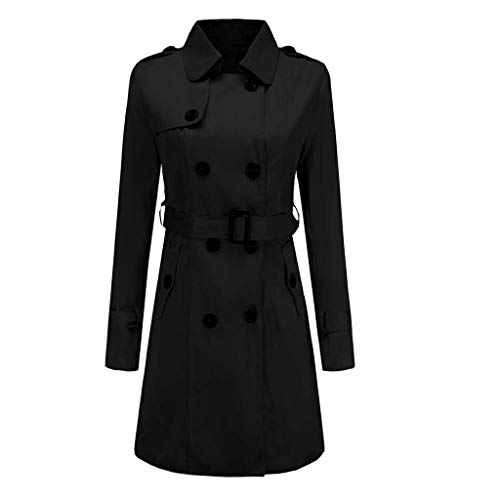 VEZAD Store Women Long Trench Coat Lapel Double-Breasted Jacket Winter Button Lightweight Outwear Black