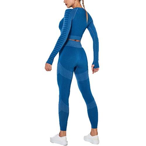 Conjunto de Chándal Mujer Traje de 2 Piezas, Trajes de entrenamiento de 2 piezas sin fisuras de cintura alta elevación del extremo polainas Banda de manga larga camisas de la yoga del pulgar agujero C