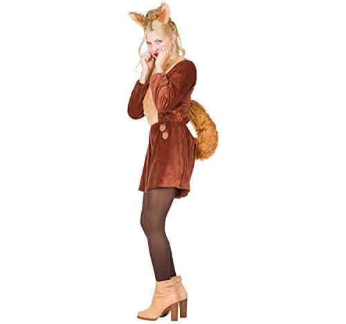 Rubie's 13440-34 Damen Kostüm Tier Eichhörnchen Puschel Jumpsuit Karneval (34), Multi-Colored