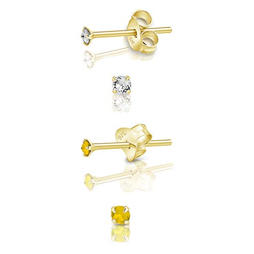 DTPSilver - Set of 2 PAIRS of 925 Sterling Silver Yellow Gold plated Round TINY Stud Earrings made with Glittering Crystals from Swarovski Elements - Diameter: 2 mm - Colour : Yellow Opal