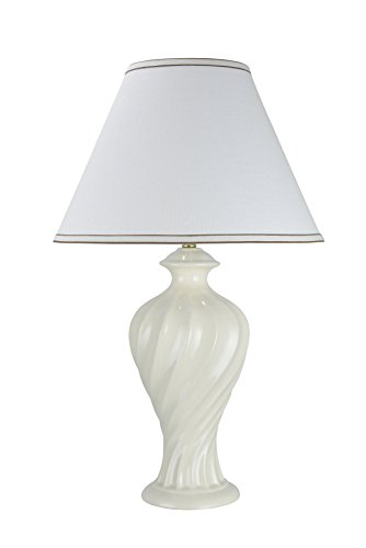 "Aspen Creative, White 40065, 29 1/2"" High, Traditional Ceramic Table Hardback Empire Shaped Lamp Shade, 18"" Wide"