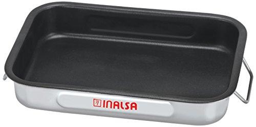 Industrias Aldaya S.L. Rustidera Anti-adhésif avec anses Pliantes en Acier Inoxydable, argenté/Noir, 40 x 28 cm