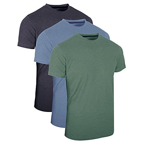 FULL TIME SPORTS® 3 Paquet T-Shirts à Col Rond pour Hommes, Hauts Décontractés à Manches Courtes (Marine CHINÉ, Aqua, Vert Chasseur, S)