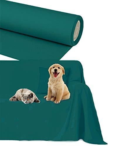 Funda Cubre Sofá 2 3 4 5 plazas - Protector para Sofás Impermeable por Mascotas Tela de Algodon con Chaise Longue (Petroleo, 2/3 plazas 200x300cm)