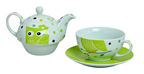 Tea for One Set mit grüner Eule (Kanne & Tasse & Untertasse)
