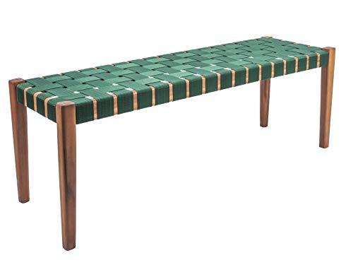 LEITMOTIV Weave Bench, bank, hout, groen, één maat