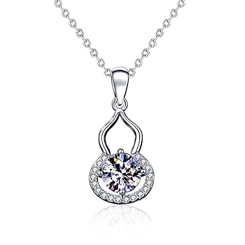 Yope RI 1 quilate oro blanco de 18 quilates con colgante de diamante para mujer, collar de moda para mujer, regalo para cumpleaños, aniversario de boda | (certificado GIA D/IF)