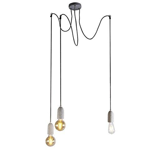 QAZQA Modern Industrielle Hängelampe grau Beton - Cava 3-flammig/Innenbeleuchtung/Wohnzimmerlampe/Schlafzimmer/Küche Stein/Rund LED geeignet E27 Max. 3 x 40 Watt