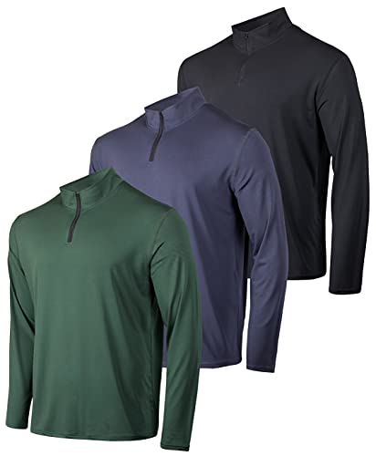 Mens Quarter 1/4 Zip Pullover Long Sleeve Athletic Quick Dry Dri Fit Shirt Gym Running Performance Golf Half Zip Top Thermal Workout Sweatshirts Sweater Jacket - 3 Pack-Set 8,M is $35 (30% off)