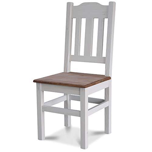 Elean Kuechenstuhl (HSL-02) Holzstuhl Esszimmerstuhl Stuhl mit Lehne Kiefer massiv vollholz zusammengebaut Verschiedene Farbvarianten zweifarbig Neu (Weiß Palisander)