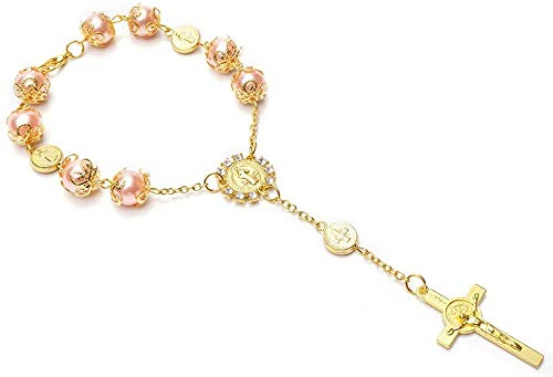 YRP 12 Baptism Favors Light Pink Gold Plated in Small Acrylic Boxes / Recuerdos De Bautizo/ Rear View Mirror Charms/ Bracelets/Wedding Favors/ Mini Rosary