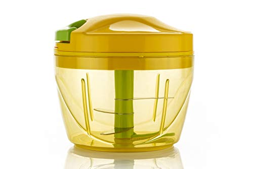 Yellow Leaf Products Jumbo 725 ml Handy Onion Chopper Vegetable & Hand Meat Grinder Mixer Food Processor Slicer Shredder Salad Maker, with 3 Steel Blade and Pull Cord Technology (Yellow, 1 Piece)