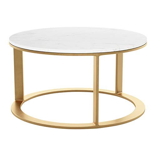 Zuo Modern Marble Coffee Table White & Gold Helena