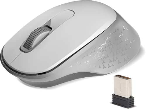 Zebronics Zeb-Kai Wireless Mouse – Bluetooth & 2.4GHz with USB Nano Receiver (Dual Connectivity), Power On/Off Switch, 1500 DPI, 3 Buttons, Silent Clicks, Plug & Play, for PC/Mac/Laptop (White)