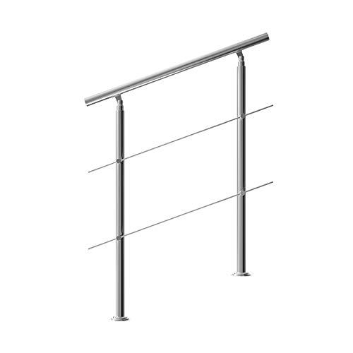 Monzana Pasamanos para escaleras de acero inoxidable 100cm barandilla interior exterior baranda