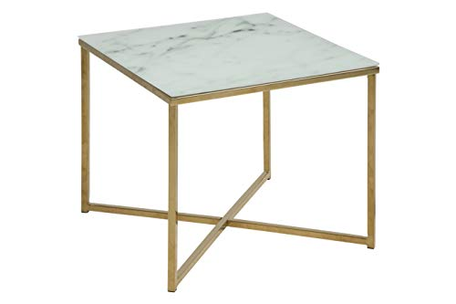 Amazon Brand - Movian Rom Rectangular End/Side Table, 50 x 50 x 42 cm, Glass Top with White Marble Effect/Metal Frame