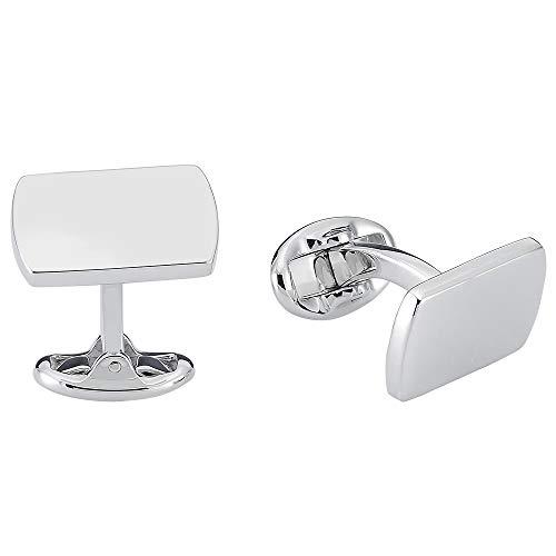 Vinani Design Manschettenknöpfe rechteckig schlicht glänzend 925 Sterling Silber Herren Anzug Hemd 2MAM