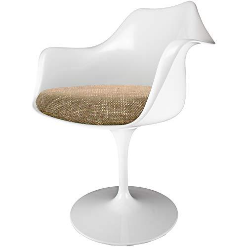 Fusion Living Sillón Giratorio Blanco Brillante y Texturizado Beige