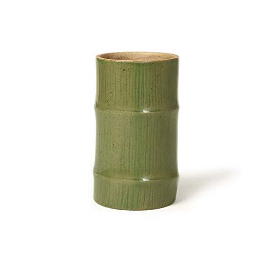 Soporte para bolígrafo QWEA Soporte para bolígrafo de cerámica de bambú creativo, adecuado para oficina y soporte para bolígrafos de almacenamiento de estudio, soporte de escritorio