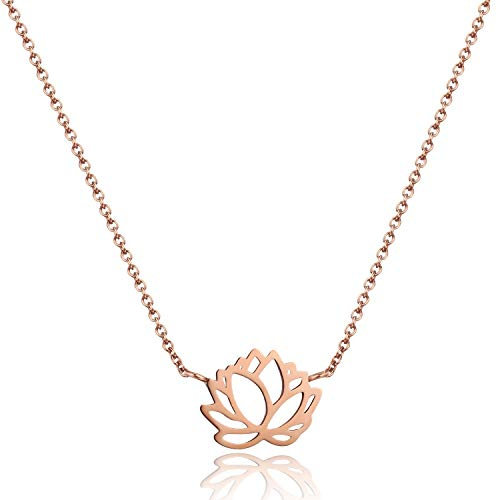 Tata Gisèle © Collar de acero inoxidable rosado – Flor de loto – Origami plegado – Bolsa de terciopelo de regalo