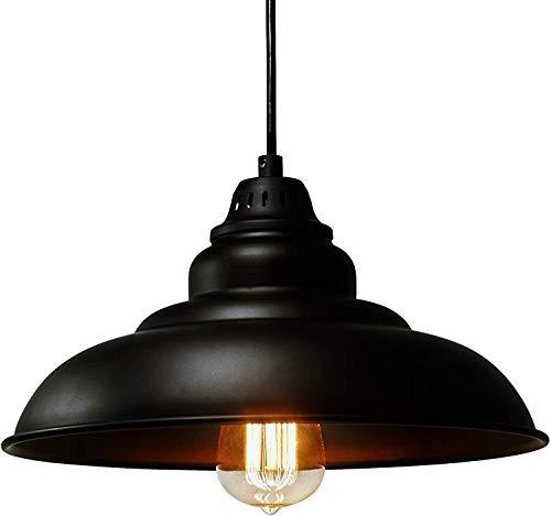 Raelf Barn Kronleuchter Retro-Pendelleuchte Licht Öllampe for Küchentisch-schwarz 30.5cm Kronleuchter Industriedecken Lampshade Decke Decke hängende Lampen-E27 Schwarz