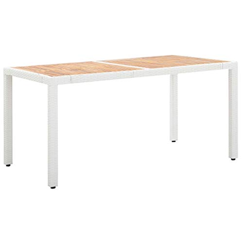 BIGTO - Tavolo da pranzo da giardino in polyrattan e legno di acacia massiccio, decorazione bistrot bianco, 150 x 90 x 75 cm