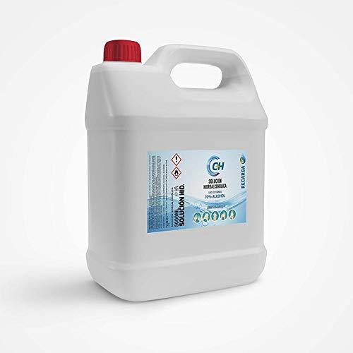 C+H Solución hidroalcoholica LIQUIDA (SIN RESIDUO) limpia manos de 70% alcohol 5 Litros | CPNP: 3349615 FABRICADO EN ESPAÑA| 100% VEGETAL(Sin derivados del petróleo).