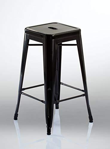 Tabouret de Bar en métal/Fer empilable Design Industriel sélection de Coleur Duhome 665D, Couleur:Noir, matière:métal