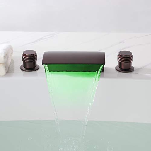 Classic Victoria Bathroom Waterfall LED Roman Bathroom Faucet Tub Filler Faucet (Oil Rubbed Bronze)