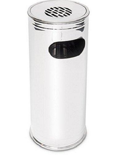 Relaxdays 10018507 pied Poubelle extérieure en acier inoxydable incluant un cendrier 75 cm de haut, gris argenté, inox, 27 x 27 x 75 cm