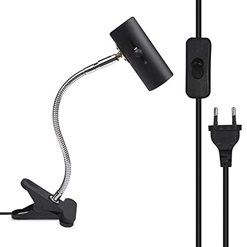 Bonlux Portalámparas E27 Ajustable con pinza y Interruptor para tortugas (EU Plug) cuello de cisne lámpara de acuario con 1,8m cable lámpara de calor para reptiles lagartos Habitat UVB (sin bombilla)