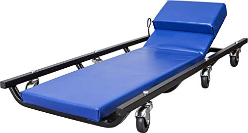 """TCE ATR6452U Torin Rolling Garage/Shop Creeper: 40"""" Padded Mechanic Cart with Adjustable Headrest and 6 Casters, Blue"""