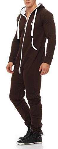 Gennadi Hoppe Herren Jumpsuit Onesie Jogger Einteiler Overall Jogging Anzug Trainingsanzug Slim Fit,braun,Large