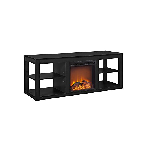 Ameriwood Home Parsons TV Stand with Fireplace, 65', Black