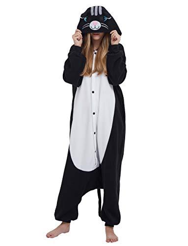 Jumpsuit Onesie Tier Karton Fasching Halloween Kostüm Sleepsuit Cosplay Overall Pyjama Schlafanzug Erwachsene Unisex Lounge, Schwarz Katze, Erwachsene Größe M - für Höhe 156-167CM