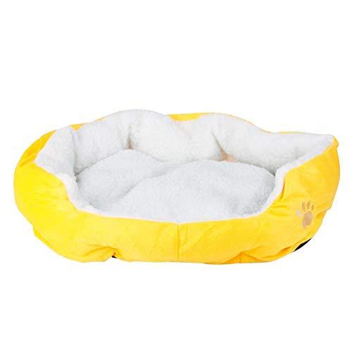 Redcolourful zacht gezellig warm nest bed huis leuke poten print kussen huis kennel deken voor hond kat mat, geel