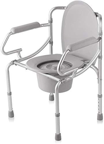 GUOZ Folding KopfendeCommode Sitz mit Commode Eimern, KopfendeCommode Stuhl, Heavy-Duty-Stahl Commode Toilettenstuhl für ältere Menschen, Schwangere Frauen