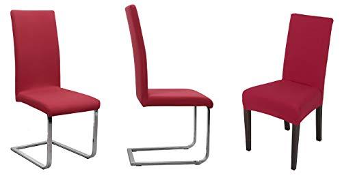 BEAUTEX Stuhlhusse Jersey, 2er Set elastische Stretch Husse Baumwolle Bi-Elastic, Farbe wählbar (Bordeaux)