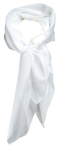 TigerTie Feines Damen Chiffon Nickituch in weiss einfarbig Uni - Größe 58 cm x 58 cm - Tuch Halstuch Schal