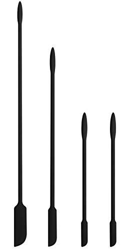 EVEREST GOOSE Silikon Spatel - 4er Pack Kleiner Spatel für kosmetisch - Mini-Spatel - Holen Sie Sich den letzten Tropfen aus dünnen Öffnungen - Spatel für die Küche(Schwarz)