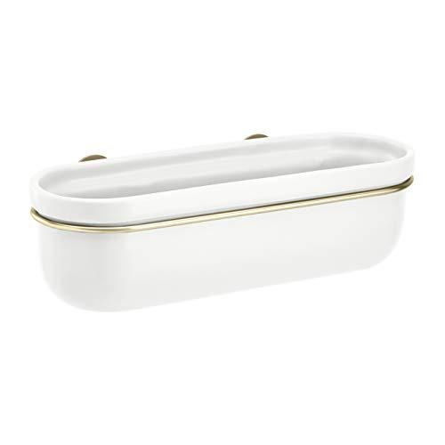 Amazon Basics Pflanztopf für die Wandaufhängung, oval, Weiß / Messingfarben
