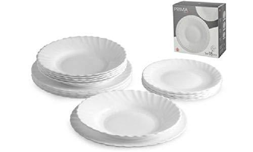 LGVSHOPPING Juego de platos de mesa Bormioli Prima Blanco 18 piezas para 6 personas Arcopal