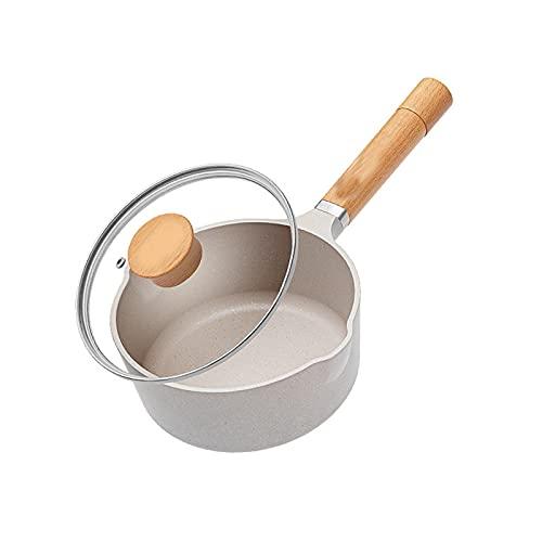 HDHUIXS Sartén Antiadherente de 16 cm con Tapa de Leche de Leche, pote de Cocina, Pan para Fideos instantáneos Pan Maifan Pan de Piedra Antiadherente (Beige) (Size : Medio)